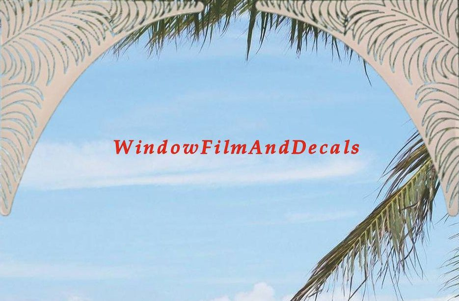 Frosted Palm Leaves Window Decal Corners