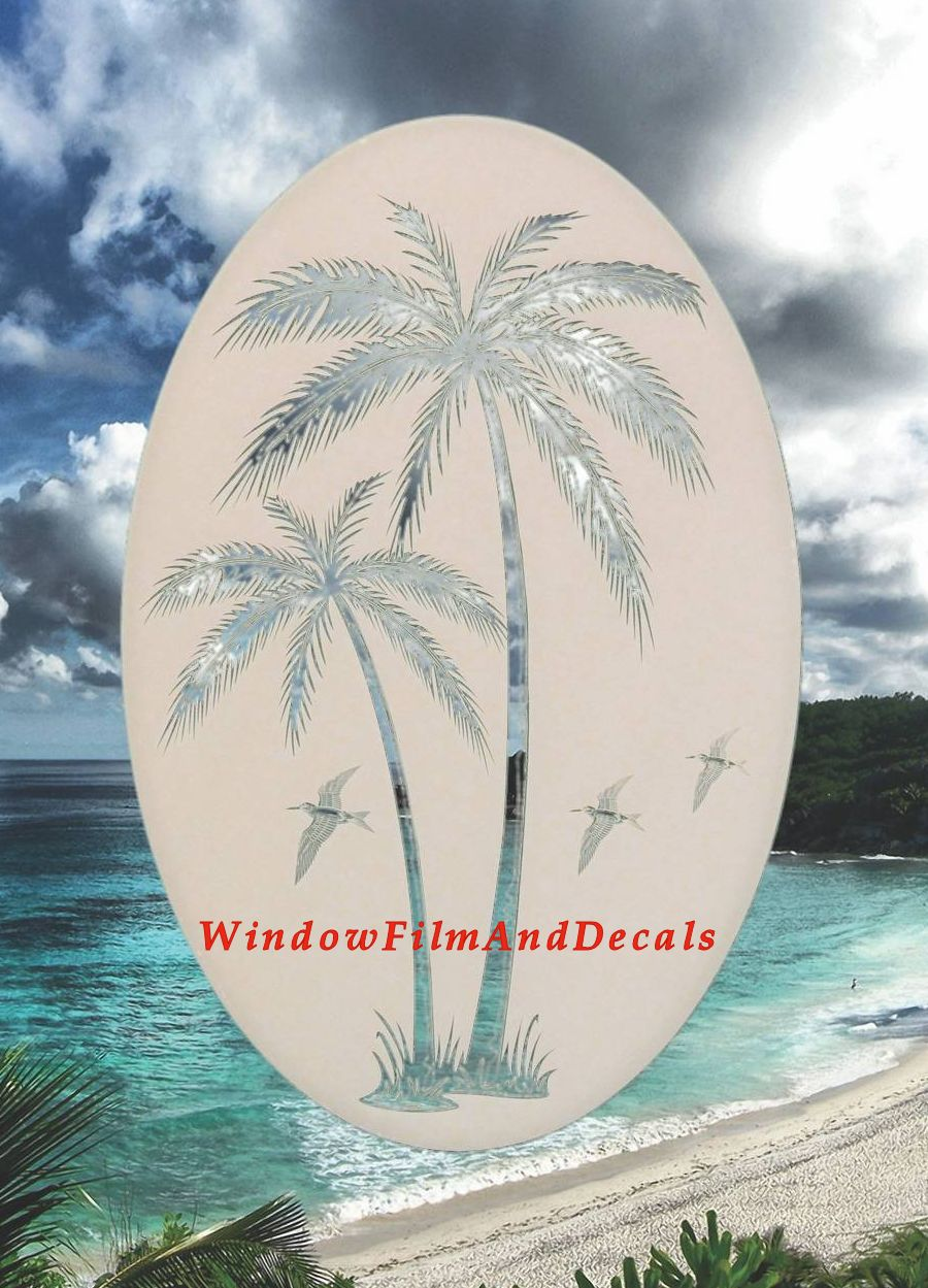 Palm Trees Right Etched Glass Vinyl Window Decal