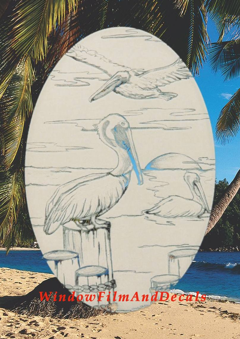 Pelican Scene Glass Window Decal