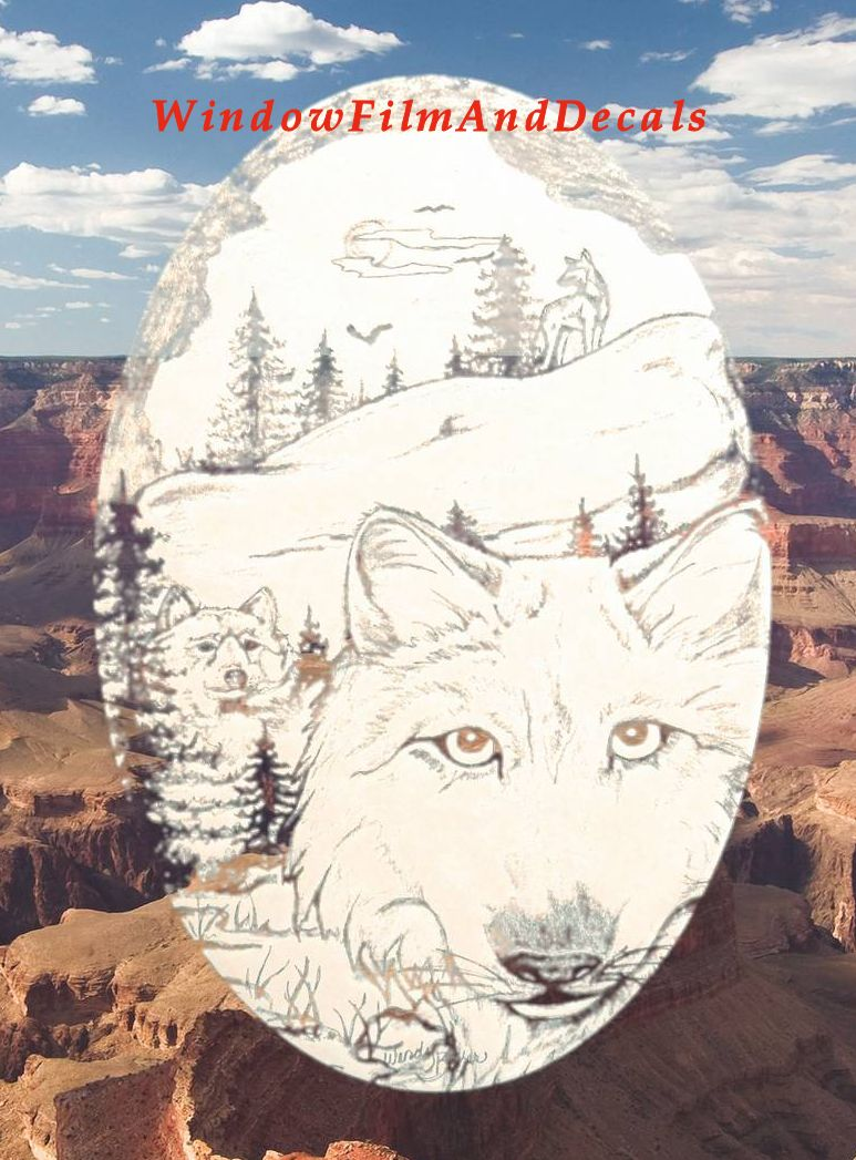 Wolf Etched Glass Window Decal