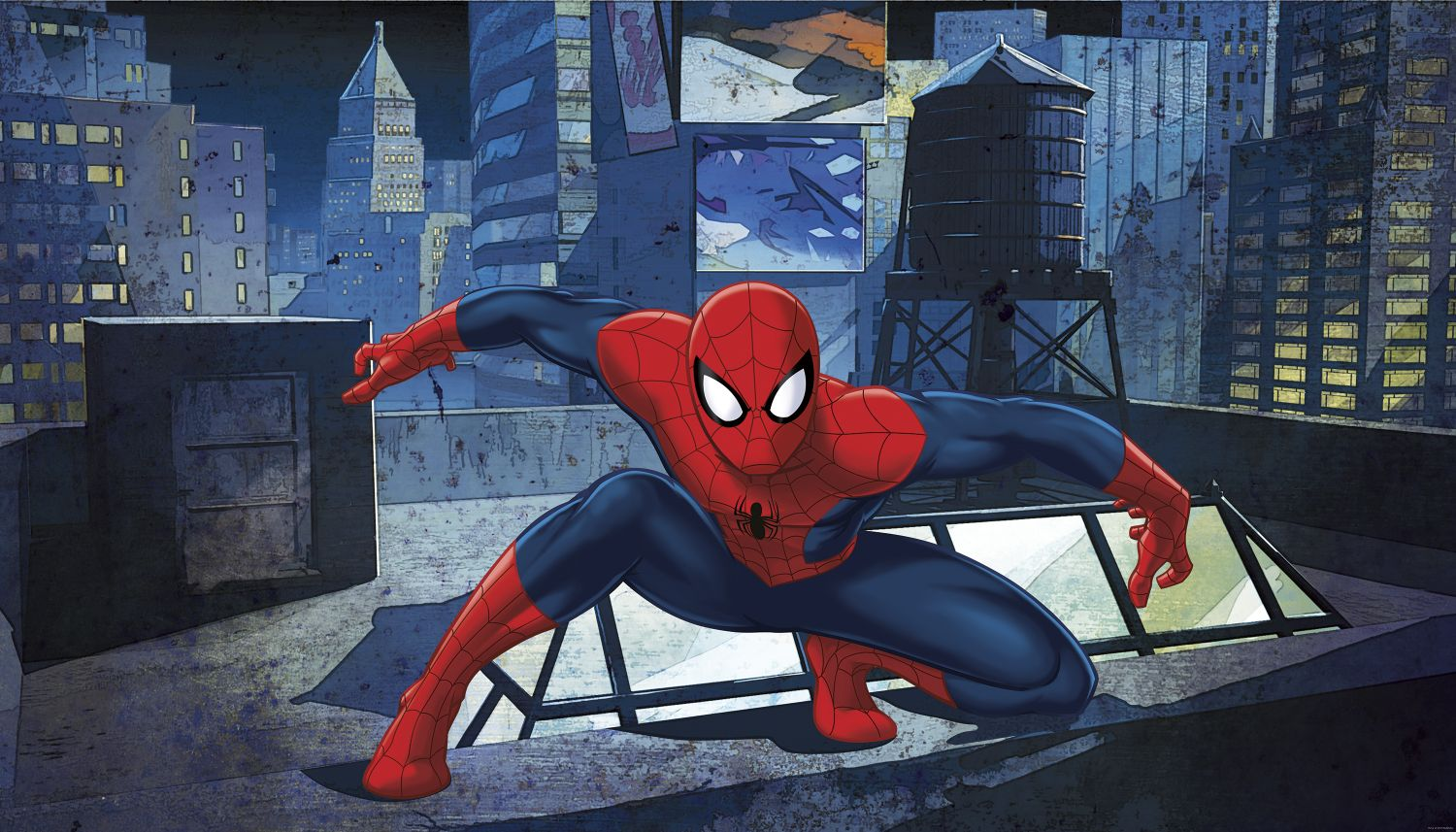 Ultimate spider man xl wall mural 105 wide x 6 high ultimate spiderman rooftop amipublicfo Choice Image