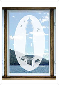 Lighthouse Etched Glass Vinyl Window Decal