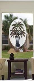 Palm Trees Etched Oval Decal