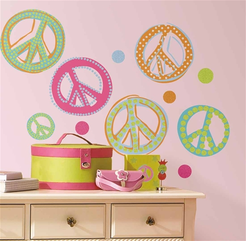 Glitter Peace Signs Wall Appliques