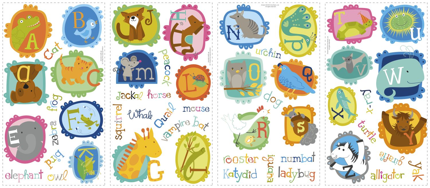 ... Four Decal Sheets Of ABC Animals Wall Decals