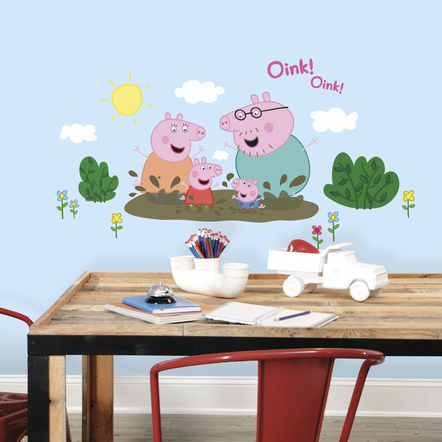 Peppa Pig and Family Muddy Puddles Wall Decals. Peppa Pig Family Muddy Puddles Wall Decals