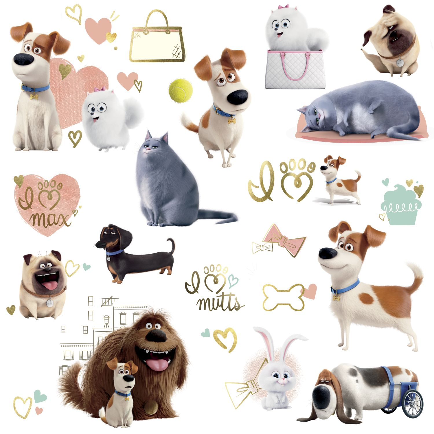 the secret life of pets girls peel and stick wall decals set
