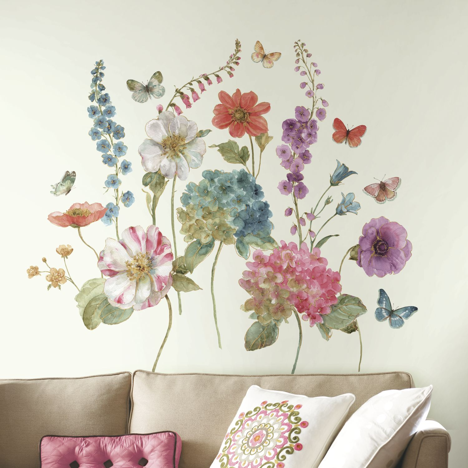Lisa audit giant garden flowers peel and stick wall decals lisa audit watercolor garden flowers giant wall decals amipublicfo Choice Image