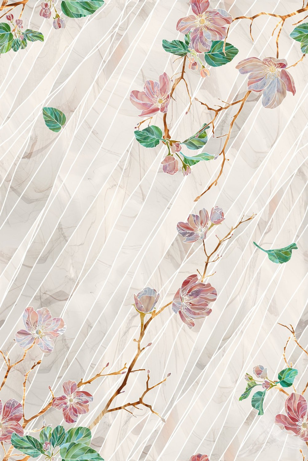 Wild Roses Stained Glass Decorative Window Film