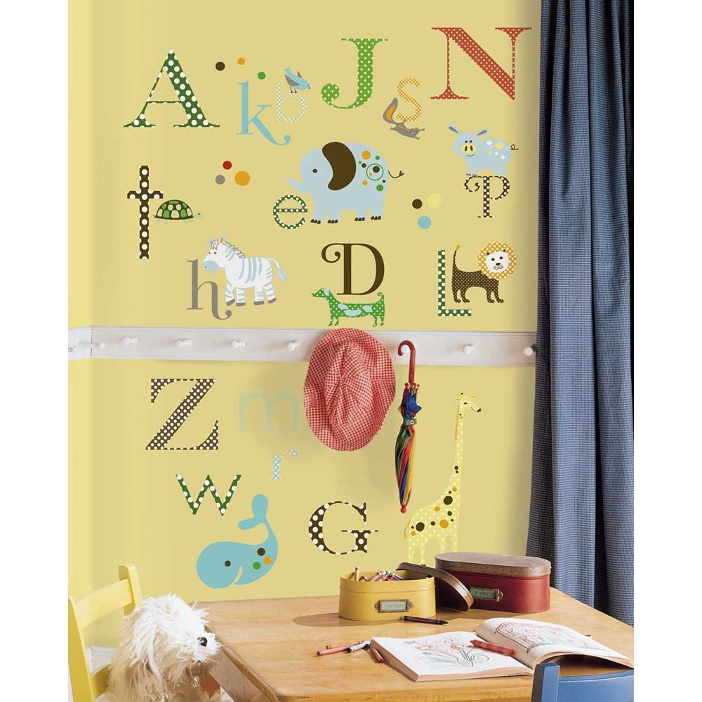 Animal alphabet wall stickers for Alphabet wall mural