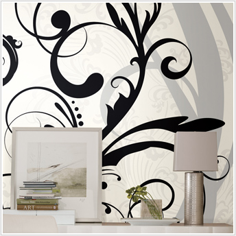 Black and White Scroll XL Prepasted Wall Mural