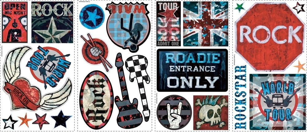 Boys Rock And Roll Wall Stickers