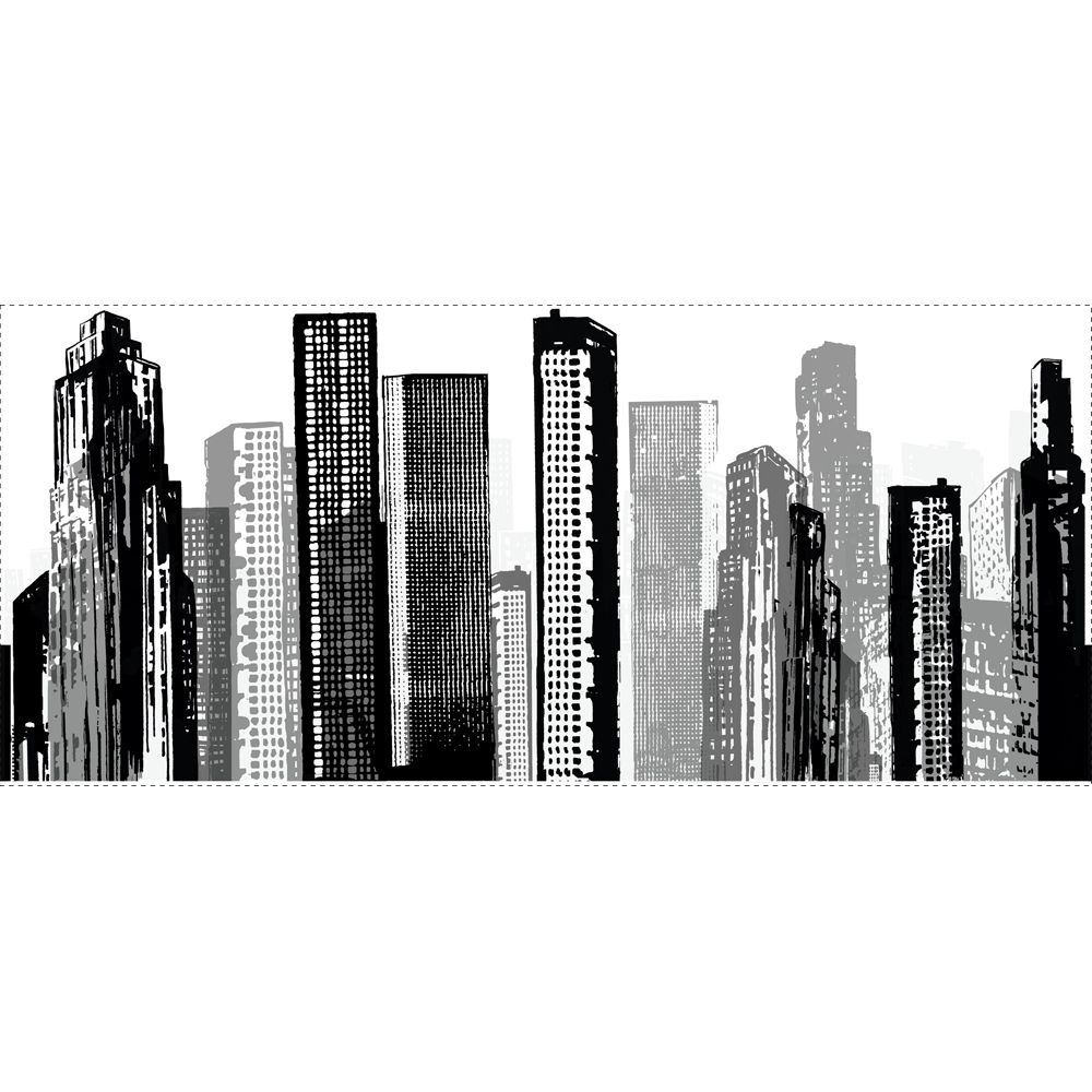 Cityscape giant modern wall decal for City scape wall mural