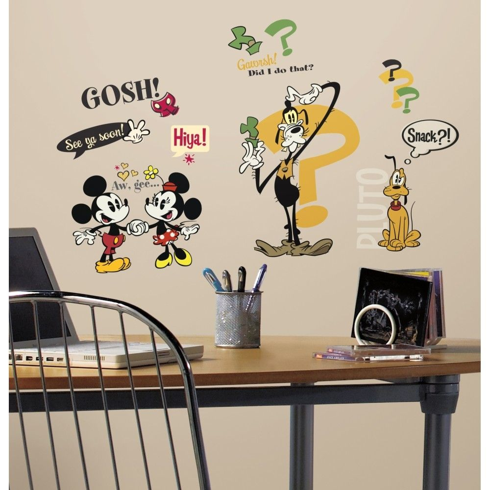 Mickey mouse cartoons wall stickers for Cartoon wall mural